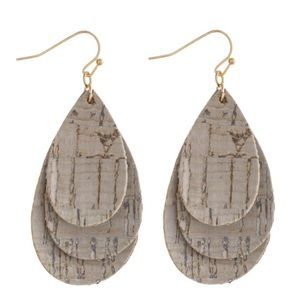 Jewelry - Trio Layered Cork Inspired Teardrop Earrings